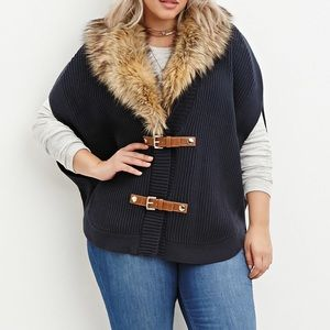 Forever 21 Plus Size Faux Fur Poncho Sweater